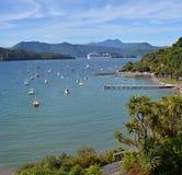 Luxusfahrgastschiff verlässt Picton, Neuseeland Stockfoto