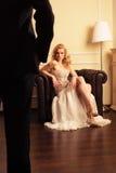 Luxusfrau und Schattenbild des Mannes Stockfotografie