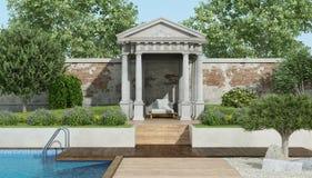 Luxusgarten mit wenigem neoklassischem Tempel und Pool stock abbildung