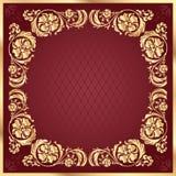 Luxusgoldmusterrahmen auf Rotweinhintergrund quadrat Stockfotografie