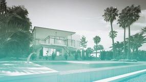 Luxushaus mit Swimmingpool und Palmen Stockbilder