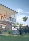 Luxushaus mit tropischem Garten und Glas-Balkon Stockbilder