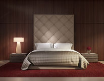 Luxusinnenraum des minimalen zeitgenössischen Schlafzimmers Lizenzfreies Stockfoto