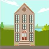 Luxuslandhaus mit großer Fensterillustration Stockfotos