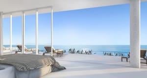 Luxuslandhausschlafzimmer der Wiedergabe 3d nahe Strand mit schöner Szene vom Fenster Lizenzfreie Stockfotos
