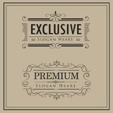 Luxuslogoweinlesekalligraphie elegant Stockbild