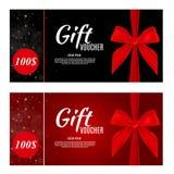 Luxusmitglieder, Gutschein-Schablone für einen festlichen Gutschein, Kupon und Zertifikat mit Bändern und Geschenkbox für Ihr vektor abbildung