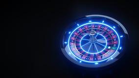 Luxuson-line-Kasino-Roulettekessel mit Neonlichtern - Illustration 3D vektor abbildung
