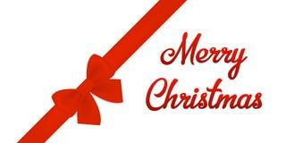 Luxussatin-Bogen-und Band-horizontale Karte und frohe Weihnachten simsen stock abbildung
