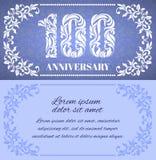 Luxusschablone mit Blumenrahmen und ein dekoratives Muster für die 100 Jahre Jahrestag vektor abbildung