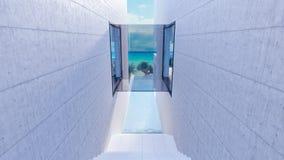Luxusstrandhausäußeres mit Swimmingpool 3d übertragen vektor abbildung