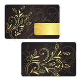 LuxusVisitenkarte mit goldener Blumendekoration. Stockfotografie