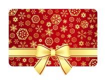 Luxusweihnachtsgutschein mit goldenen Schneeflocken Stockbild