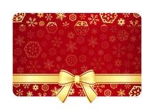Luxusweihnachtsgutschein mit goldenen Schneeflocken Lizenzfreie Stockbilder