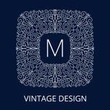 Luxusweinlese-blauer Rahmen für Monogramm Lizenzfreies Stockfoto