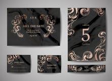 Luxusweinlese-Hochzeits-Abwehr das Datum, Einladung kardiert Sammlung mit Goldfolien-Rahmen und Kranz modische Abdeckung, Grafik stock abbildung