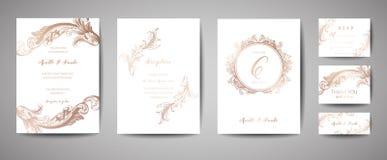 Luxusweinlese-Hochzeits-Abwehr das Datum, Einladung kardiert Sammlung mit Goldfolien-Rahmen und Kranz modische Abdeckung, Grafik vektor abbildung