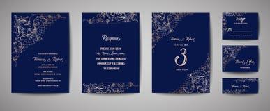 Luxusweinlese-Hochzeits-Abwehr das Datum, Einladungs-Marine kardiert Sammlung mit Goldfolien-Rahmen und Kranz Modische Abdeckung vektor abbildung