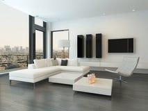 Luxuswohnzimmerinnenraum mit enormen Fenstern Stockbild