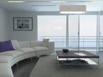 Luxuswohnzimmerinnenraum mit weißer Couch- und Meerblickansicht stock abbildung