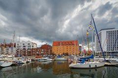 Luxusyachten im Buchtbereich von Gdansk, Polen, baltische Küste Lizenzfreies Stockfoto