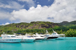 Luxusyachten im Jachthafen von Eden Island Stockbild