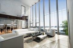 Luxuszustandsinnenraum mit Meerblick und Yacht Stockbilder