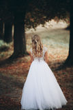 Luxuty portrait of blonde bride with bridal bouquet in autumn Stock Photography