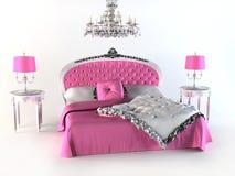 Luxuxbett. rosafarbenes Schlafzimmer stock abbildung