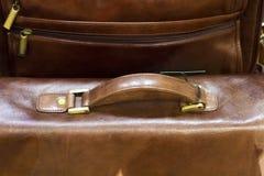 Luxuxentwerferlederaktenkoffer Lizenzfreies Stockfoto