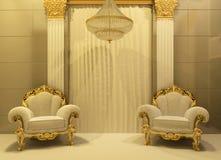 Luxuxlehnsessel im königlichen Innenraum Lizenzfreies Stockbild