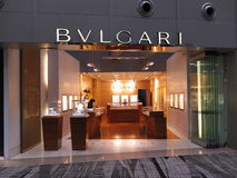 Luxuxmarke Bvlgari Butikeanschluß Stockbilder