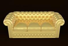 Luxuxsofa mit goldenem Leder Stockfoto