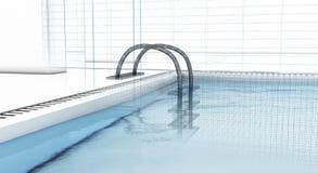 Luxuxswimmingpool mit Drahtfeld Lizenzfreie Stockfotografie