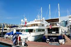 Luxuxyachten, die am Singapur-Yacht-Erscheinen ausstellen stockbilder