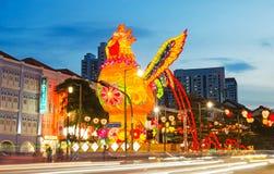 Luz-Acima chinesa 2017 do ano novo em Singapura Fotografia de Stock Royalty Free