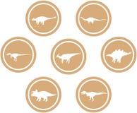 Luz ajustada do emblema redondo do dinossauro - marrom Imagens de Stock Royalty Free