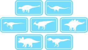 Luz ajustada do emblema retangular do dinossauro - azul Fotos de Stock Royalty Free