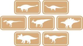Luz ajustada do emblema retangular do dinossauro - marrom Fotos de Stock
