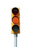 Luz amarilla aislada de la señal de tráfico Imagen de archivo libre de regalías