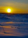 Luz anaranjada del sol de la puesta del sol en la nieve en el campo Fotografía de archivo libre de regalías
