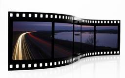 A luz arrasta a tira da película Imagens de Stock