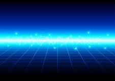 Luz azul abstracta con el fondo de la tecnología de la rejilla illu Imagen de archivo libre de regalías