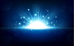 Luz azul brilhante que aumenta do horizonte preto Imagens de Stock Royalty Free