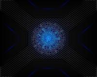 Luz azul da tecnologia em cinzento escuro da sombra da malha como o fundo ilustração do vetor
