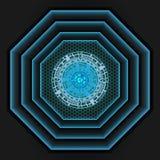 Luz azul en la sombra de la malla gris oscuro como fondo ilustración del vector