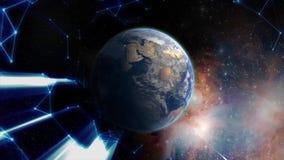 Luz azul entrante que se mueve hacia la tierra de giro con la luz del rastro Fondo científico y tecnología abstracta existencias stock de ilustración