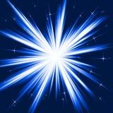 Luz azul, explosión de la estrella, fuegos artificiales estilizados ilustración del vector