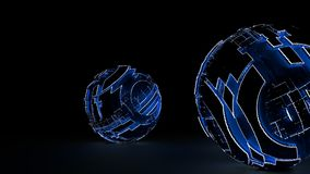 Luz azul que brilla intensamente de las esferas futuristas abstractas Imagen de archivo libre de regalías