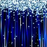 A luz azul Sparkling stars o fundo Fotografia de Stock Royalty Free